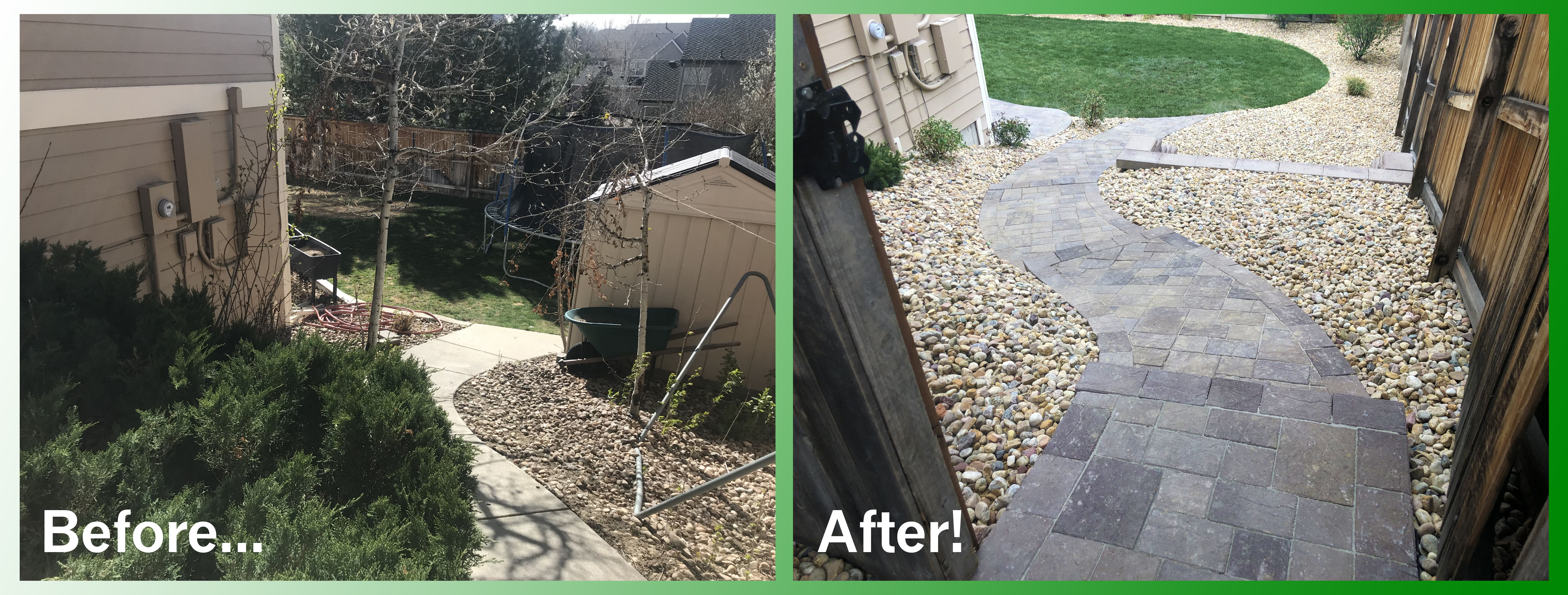 Before After Of Back Yard Landscape Project Landscape Projects Yard Landscaping Landscaping Around Trees