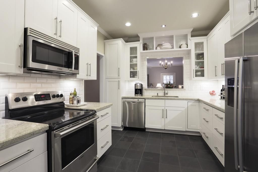 Slate appliances with white cabinets for the home for White kitchen cabinets and white appliances