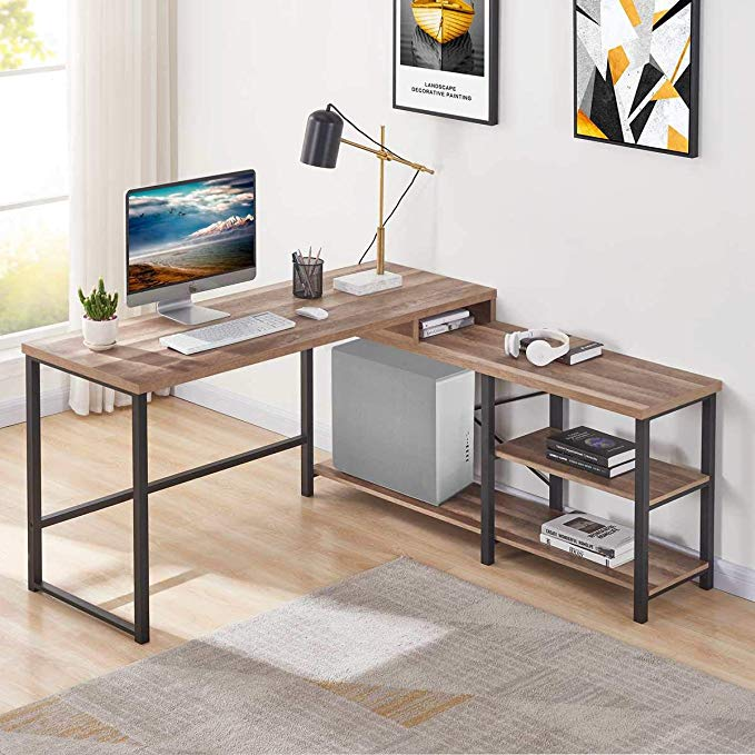 Amazon Com Bon Augure L Shaped Corner Desk Wood And Metal Computer Desk With Storage Shelf Industria Metal Office Desk Wood Office Desk Rustic Computer Desk
