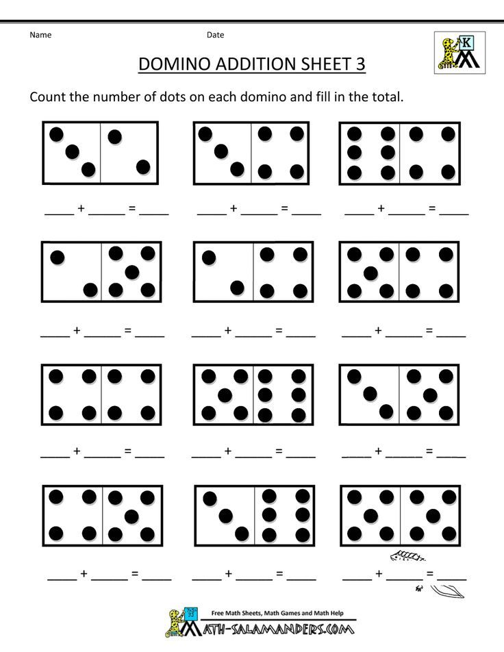 printable kindergarten math worksheets domino addition 3 | crafts ...