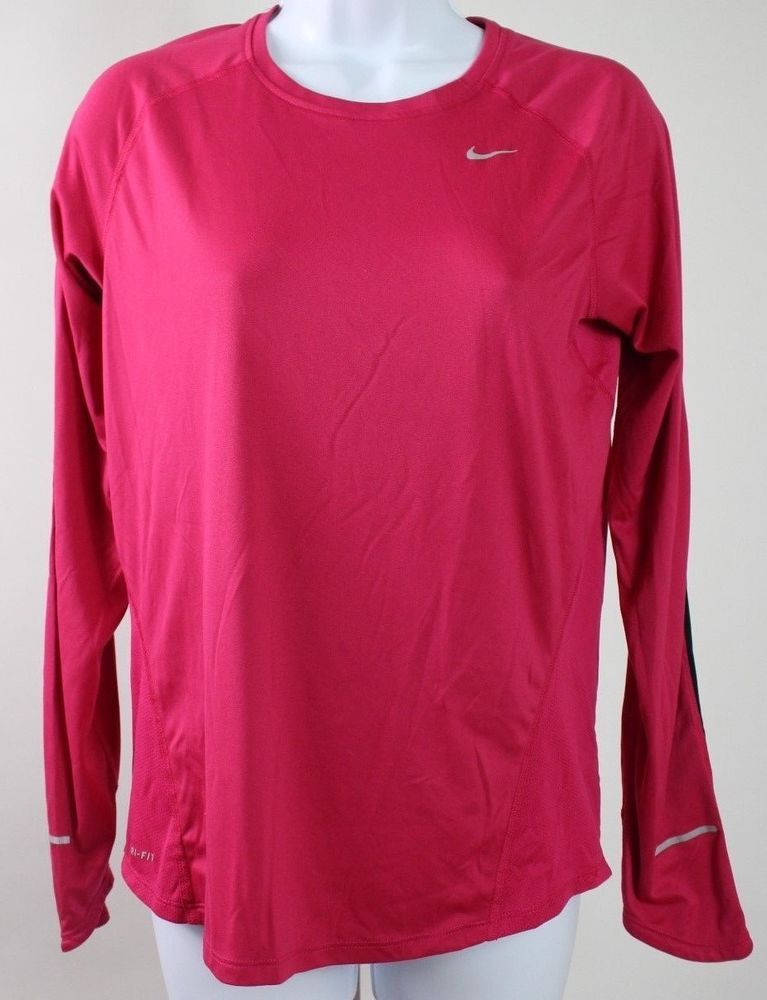 d4bdf6571715 Nike dri-fit women s long sleeve running top size medium pink black  reflective E  fashion  clothing  shoes  accessories  womensclothing   activewear (ebay ...