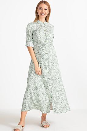 Onden Dugmeli Cicekli Elbise Elbise Modelleri Cicekli Elbise Elbise