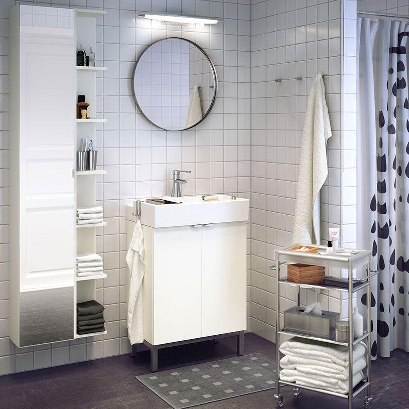 Hvidt LILLÅNGEN skab til vask med 2 låger og RÖRSKÄR blandingsbatteri