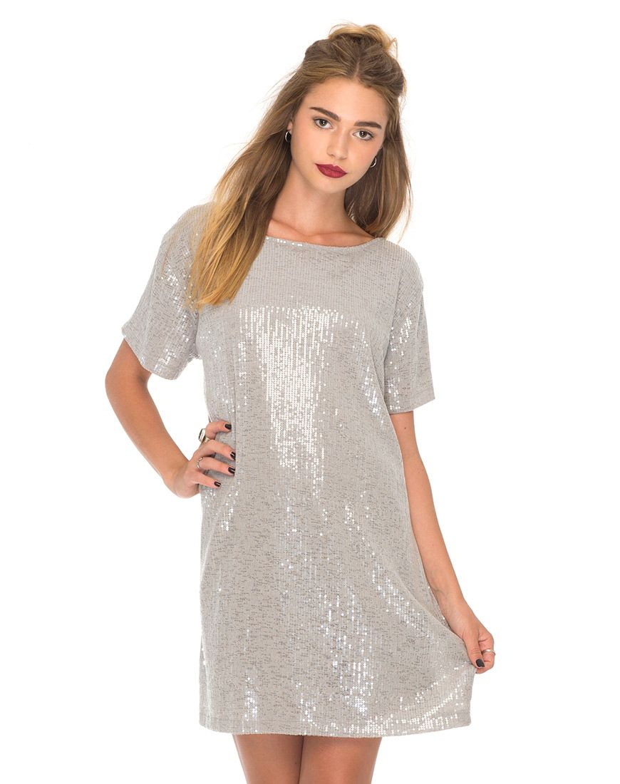 0370306ab39 Mausi T-Shirt Dress in Clear Cut Sequin Grey by Motel