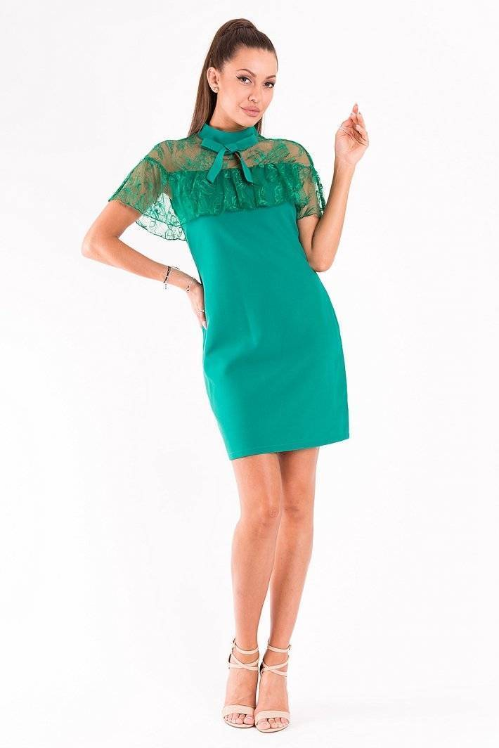 90d30b5e98 Green Fitted Ribbon Neckline With Mesh Mini Dress in 2019