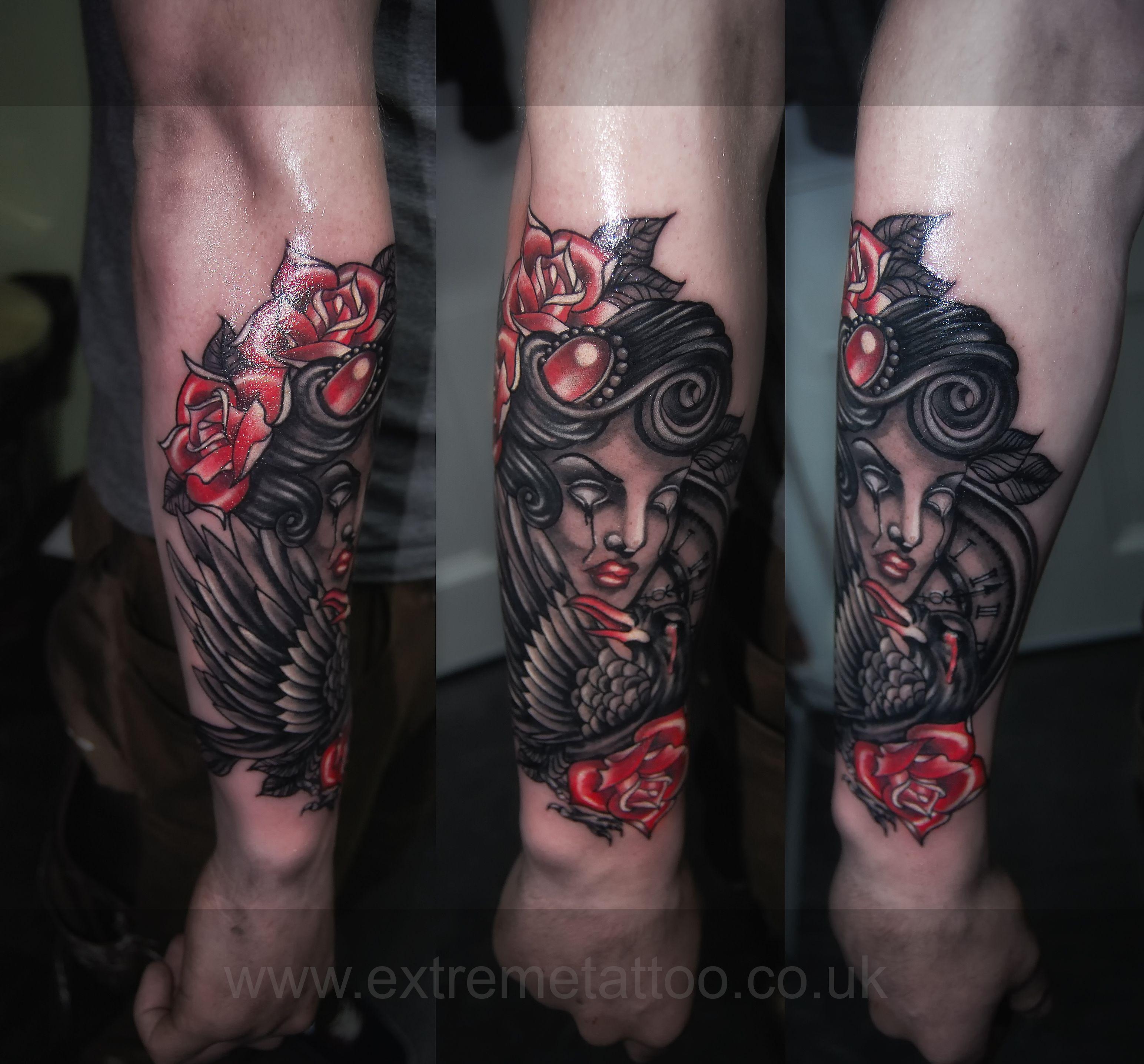 Tattoo Woman Zombie: Zombie Girl Roses Crow Tattoo Sleeve In Progress,Gabi