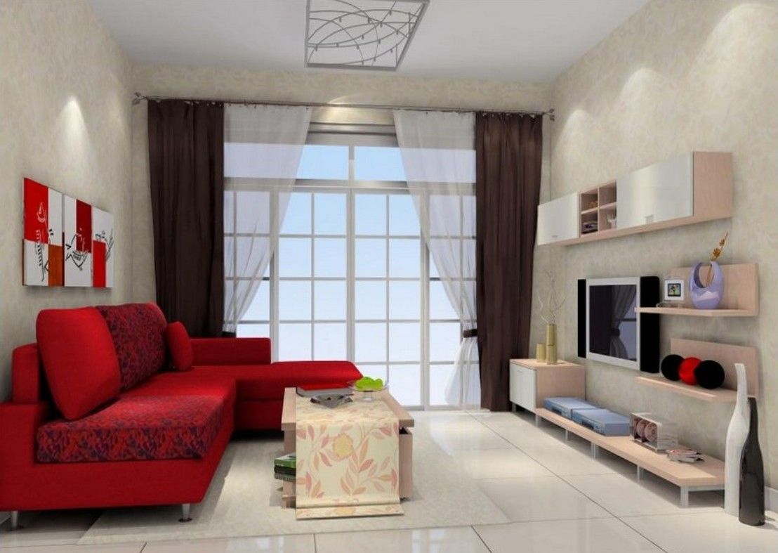 Living Room with Red Sofa | Interior view of the living room with ...