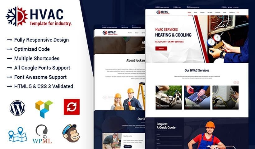 Hvac Air Conditioning Wordpress Theme Hvac Air Conditioning Heating And Cooling Hvac Services