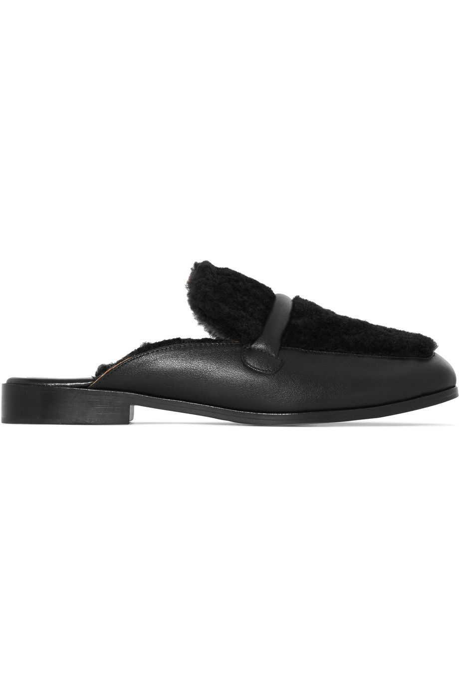 Leather · Shop on-sale NewbarK Melanie shearling and leather slippers.