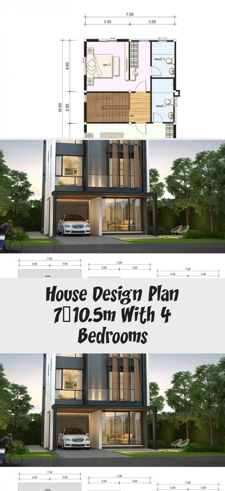 House Design Plan 7x10 5m With 4 Bedrooms Home Design With Plansearch Housedesigndiy Housedesign In 2020 Home Design Plans Duplex House Design Village House Design