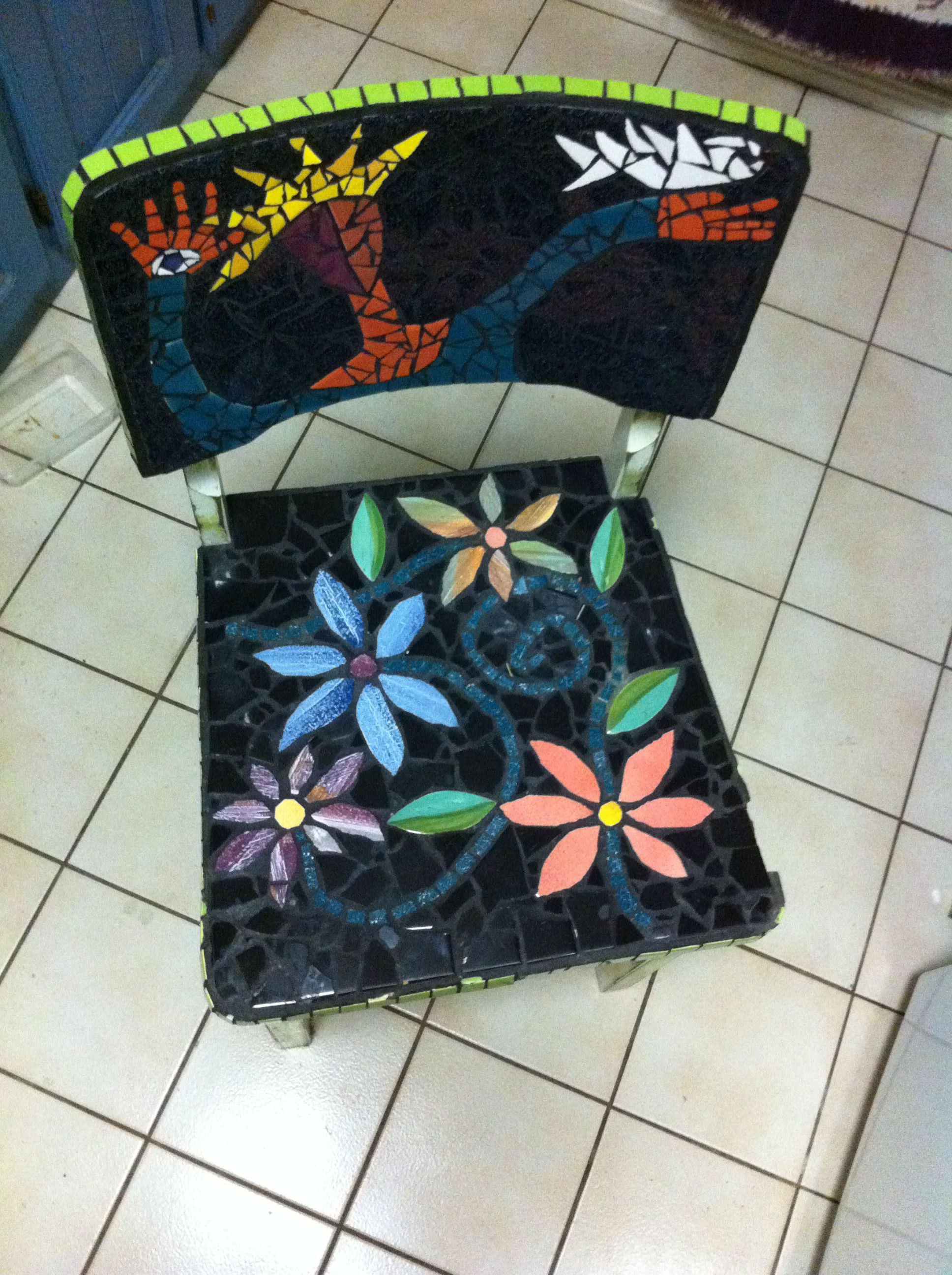 Mosaic covered chair, mix of hand painted & commercial tiles by ArtisanaStudios