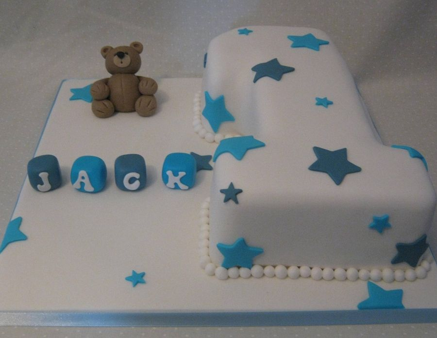 Birthday Cakes For Boys With Name ~ Baby boy number 1 cake white number 1 cake with blue star