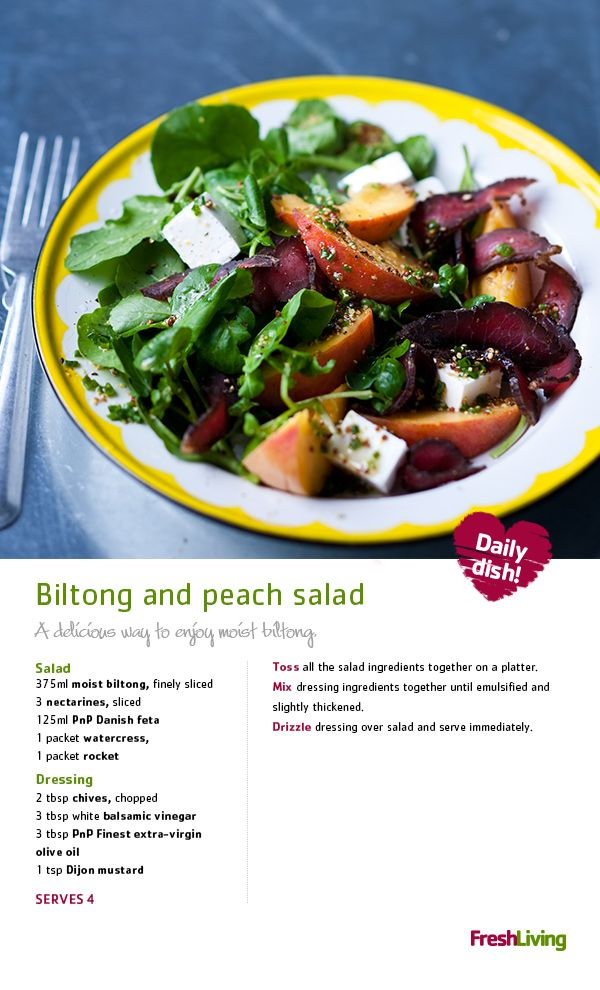 Biltong And Peach Salad African Food Biltong South African Recipes