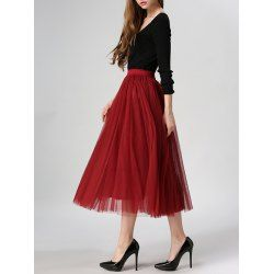 Tulle High Waist Midi Skirt - WINE RED ONE SIZE