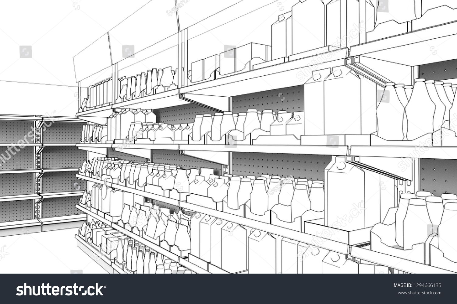 Cartoon Supermarket Graphic Black White Interior Sketch