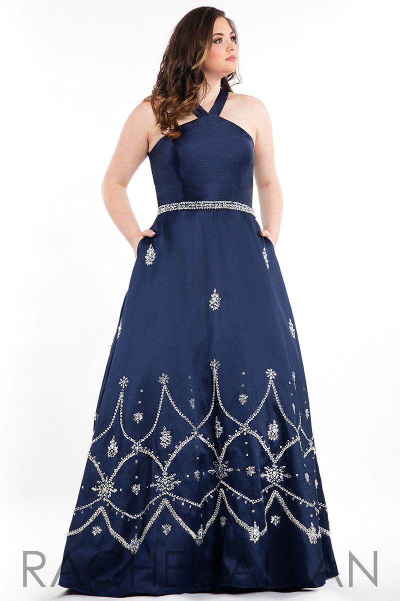 Rachel allan plus navy halter prom dress plus size work
