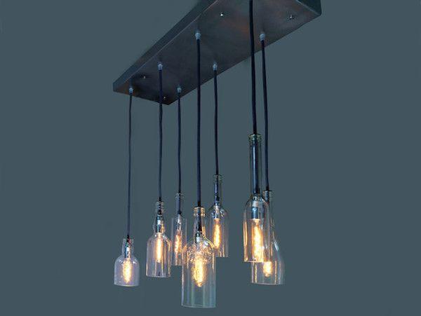 Kronleuchter wohnzimmer ~ Flaschenlampen aus weinflaschen als kronleuchter beleuchtung