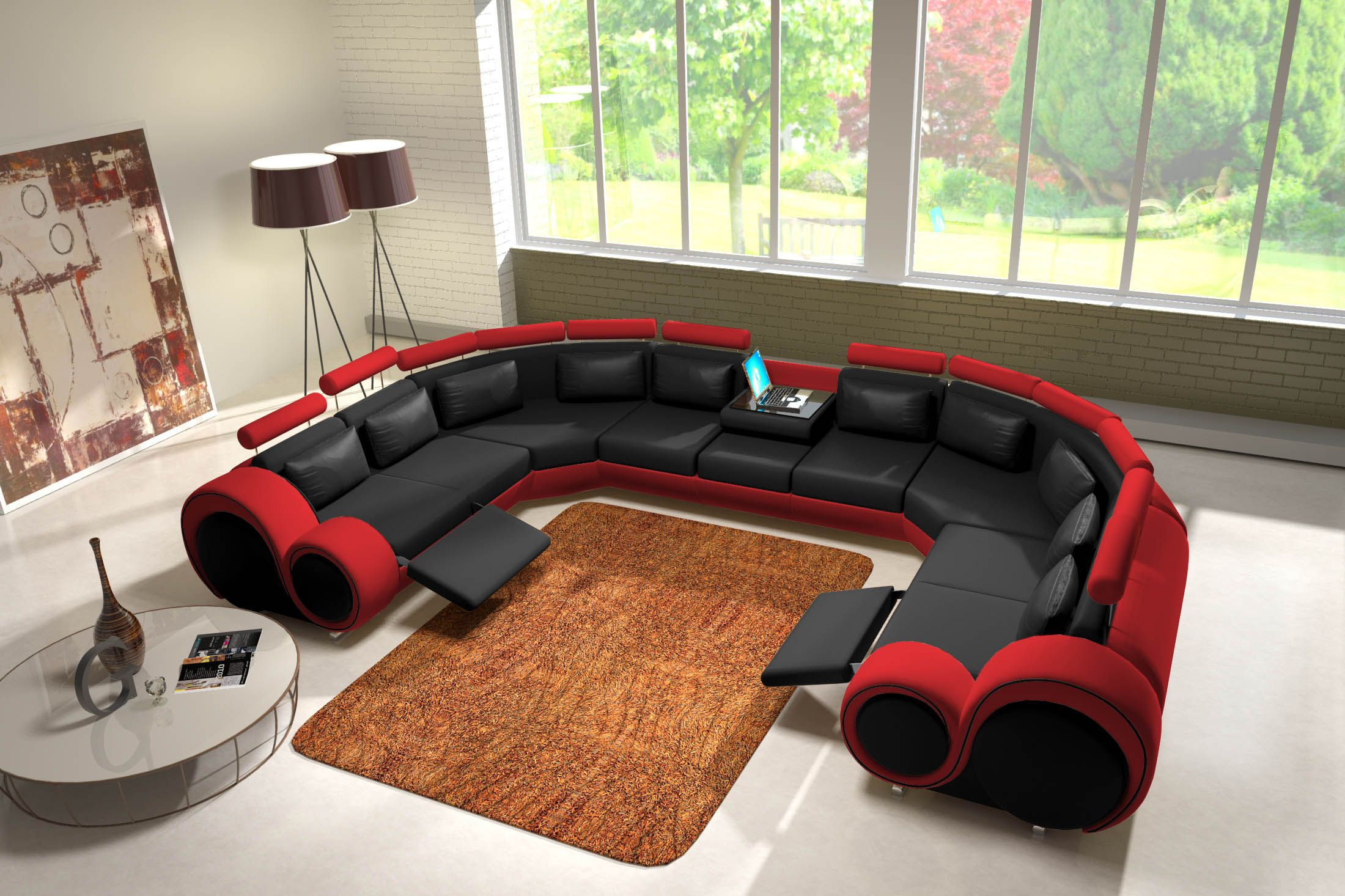 Eckcouch u form  JVmoebel - Ledersofa Couch Sofa Ecksofa Modell Berlin IV U-Form ...