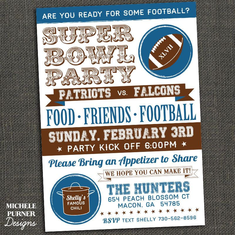 Super bowl party invitation fall activities pinterest for Super bowl party invitation template