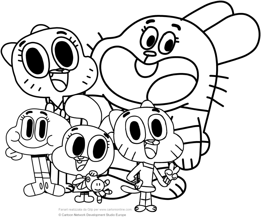 Watterson Family The Amazing World Of Gumball Coloring Pages Cartoon Coloring Pages Coloring Books Angel Coloring Pages