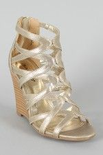 Bamboo Royce-02 Metallic Strappy Open Toe Wedge - In silver.... looking for a silver wedge for Neesie's wedding