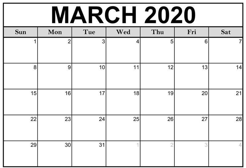 Monthly March 2020 Calendar Blank Printable Template In 2020