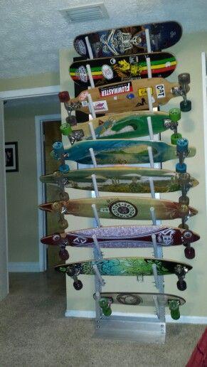 our collection on our homemade skateboard rack - Skateboard Regal Kinder Schlafzimmer