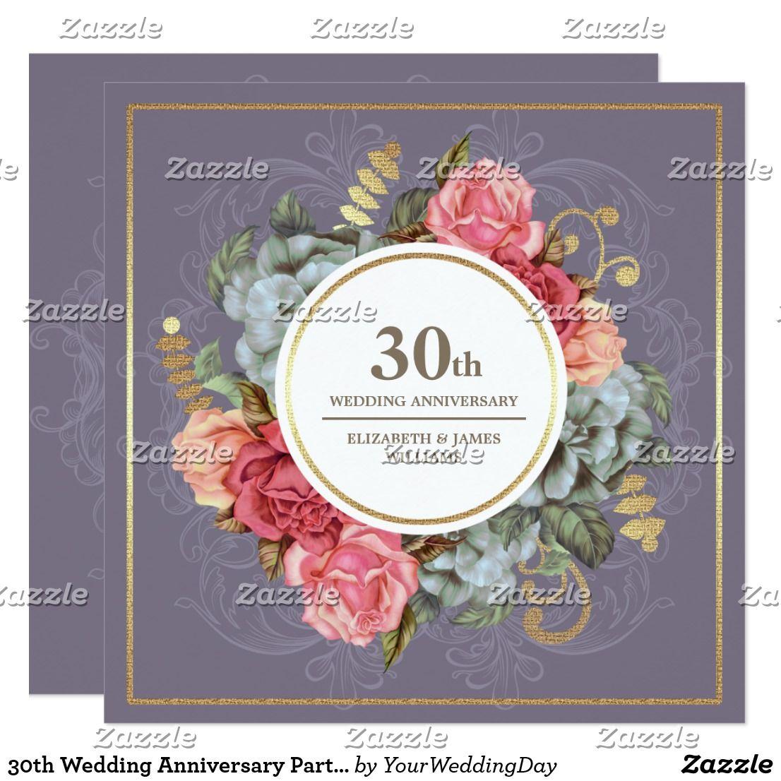 30th Wedding Anniversary Party Invitations Zazzle Com Wedding Anniversary Cards 25th Wedding Anniversary Party 60th Wedding Anniversary Party