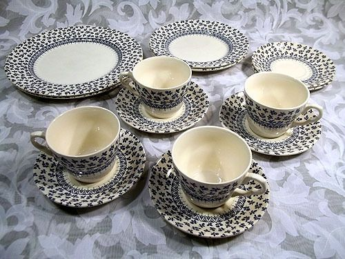 Sold English Ironstone Eit6 Pattern Blue Floral Tableware Set Tableware Set Tableware Floral