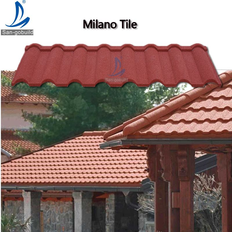 High Quality New Zealand Colorful Milano Type Stone Chips Coated Steel Roofing Tiles Metal Roof Tiles Steel Roofing Aluminum Roof
