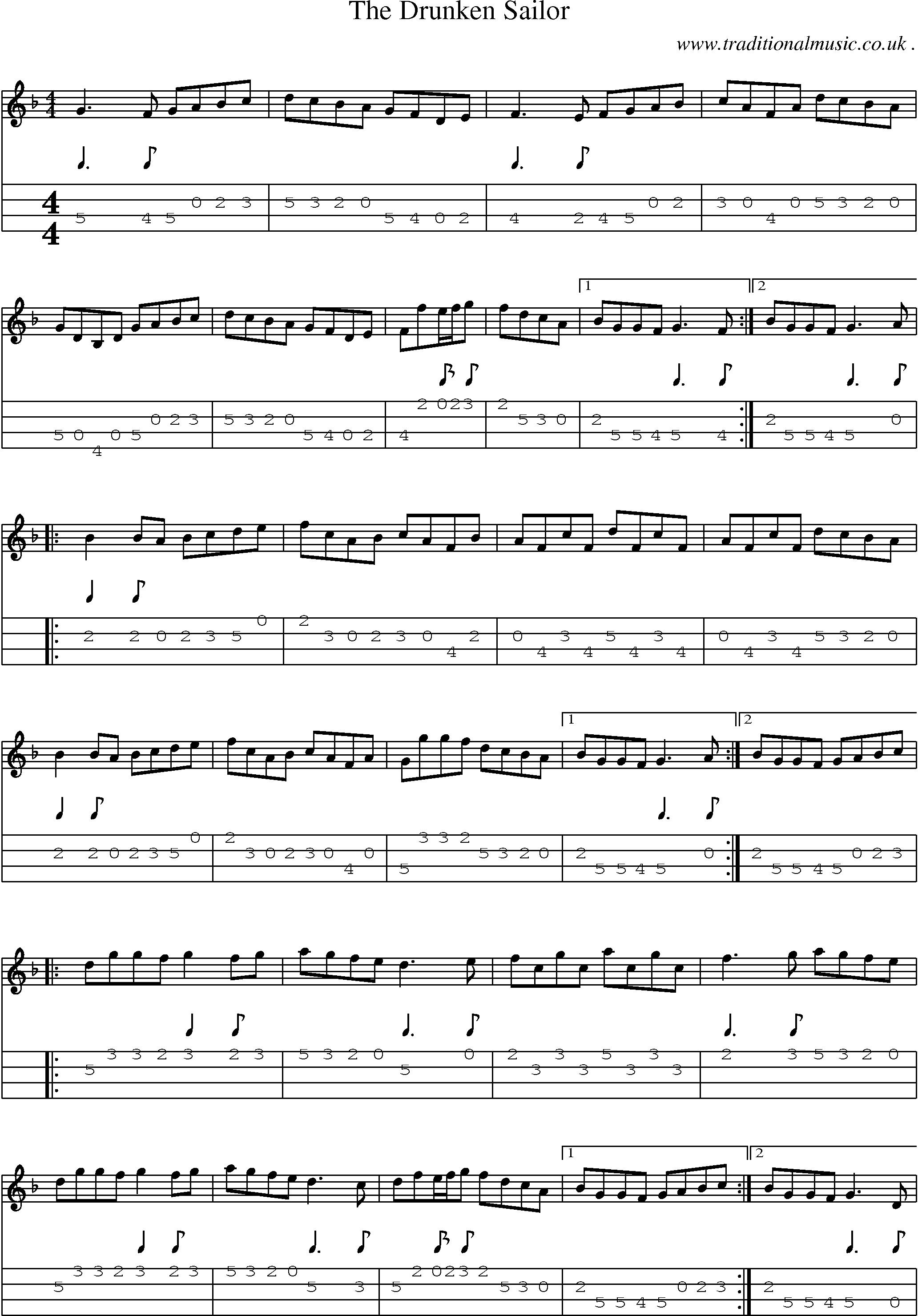 Sheet music and mandolin tabs for the drunken sailor mandolin sheet music and mandolin tabs for the drunken sailor hexwebz Images