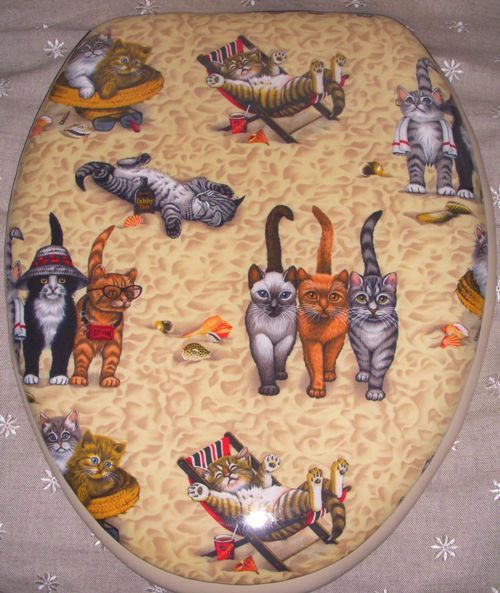 Cat Padded Toilet Seat Covers | BathBeautiful.com Cloud Soft Padded Toilet…