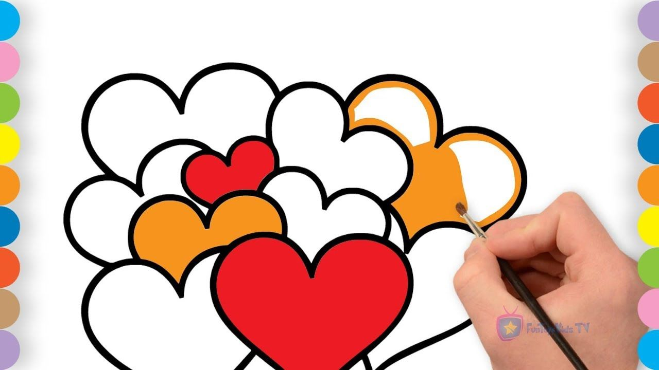 Kids coloring pages - How to draw Heart - Children colors book ...