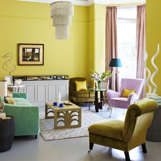 Pariser Chic modernen Wohnzimmer Wohnideen Living Ideas Interiors - wohnzimmer farben gelb