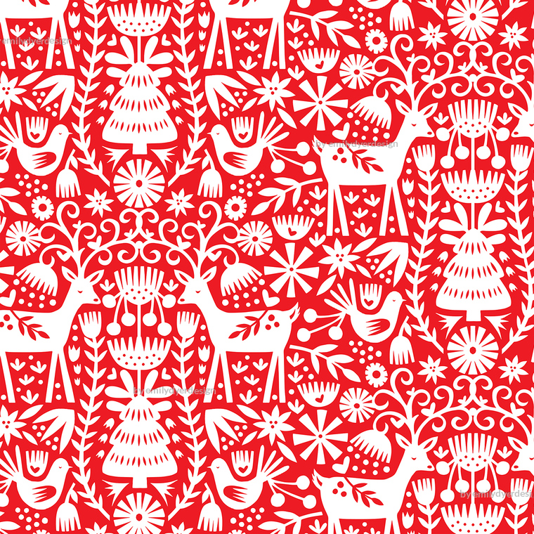 Colorful Fabrics Digitally Printed By Spoonflower Nordic Reindeer Red And White In 2020 Printing On Fabric Christmas Wallpaper Prints