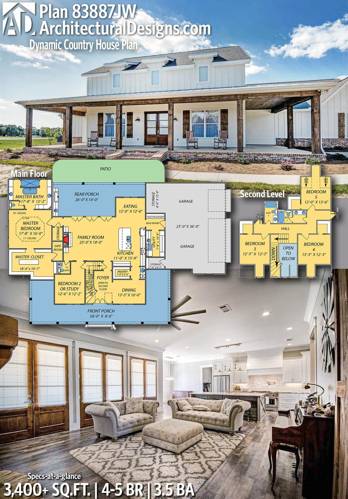 Plan 83887JW: Dynamic Country House Plan with Safe Room
