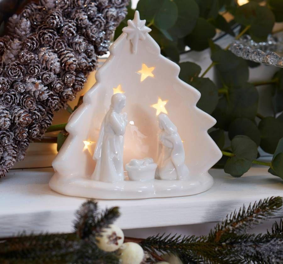 Ceramic Light Up Christmas Tree Uk: Nativity Scene Tea Light Holder