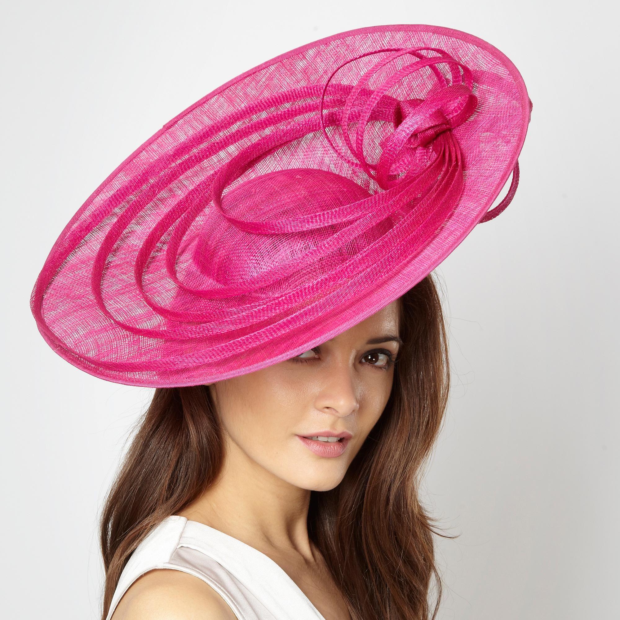 Designer bright pink loop flower head piece - Occasion hats ...