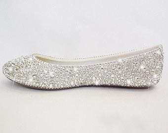 Bedazzled Wedding Flats Crystal Comfortable Bridal Prom Pageant Evening Ballet Flats Silver Bridal Shoes Bridal Shoes Prom Shoes
