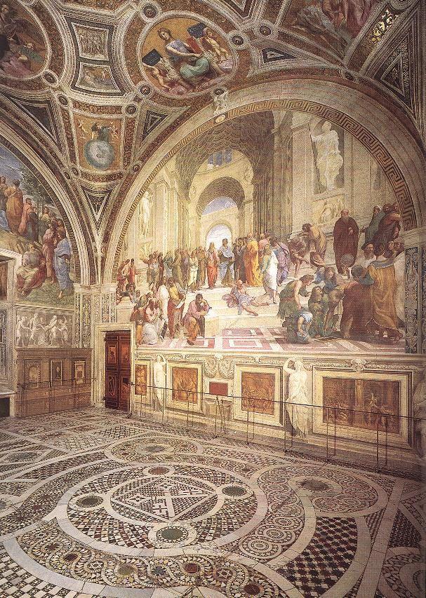 RAFFAELLO Sanzio - View of the Stanza della Segnatura3 da Faces of Ancient Europe    Tramite Flickr: RAFFAELLO Sanzio. (b. 1483, Urbino, d. 1520, Roma). . View of the Stanza della Segnatura. 1510-11. -. Stanza della Segnatura, Palazzi Pontifici, Vatican. . . . . . . — Keywords: ————–. . Author: RAFFAELLO Sanzio. Title: View of the Stanza della Segnatura. Time-line: 1501-1550. School: Italian. Form: painting. Type: interior.