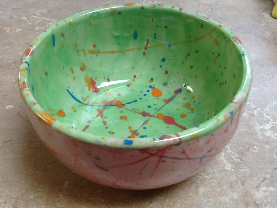 Splatter Paint Idea For A Workshop At Www Thefunkyteapot Co Uk Pottery Workshop Ceramic Painting Paint Your Own Pottery