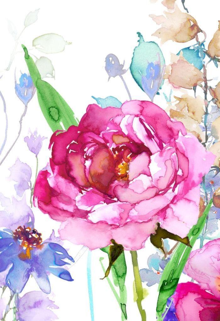 Открытки, цветы акварель открытки