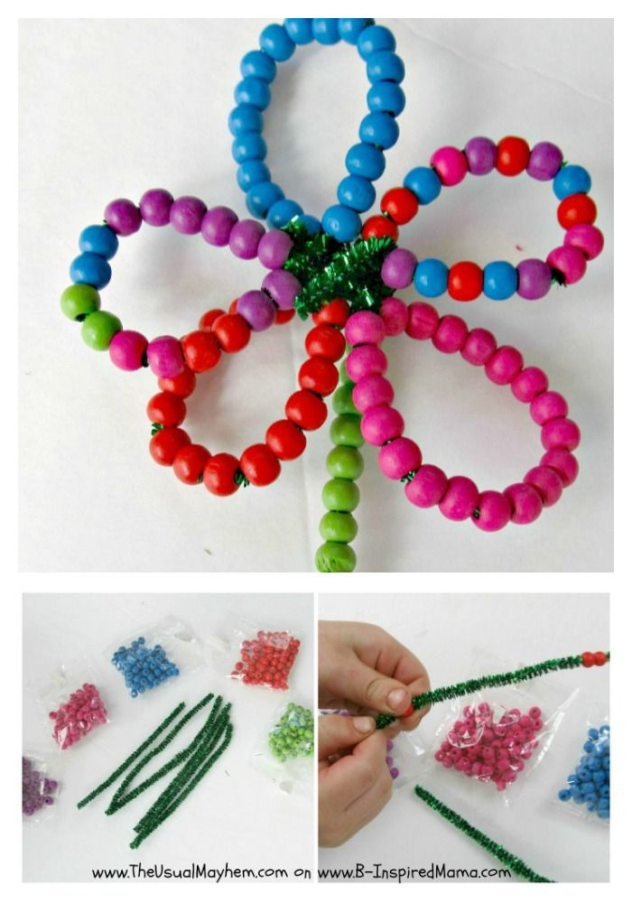 Fine Motor Skill Flower Beading by The Usual Mayhem at B-Inspired MAMA. Kids get crafty while improving their fine motor skills. Smart. Sneaky. Stunning.