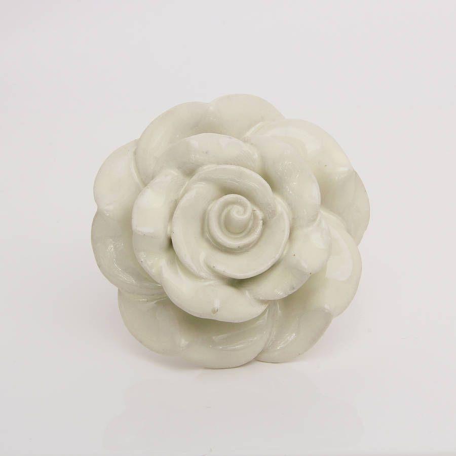 Large Ceramic Bloomer Flower Door Knob In White | Door knobs, Large ...