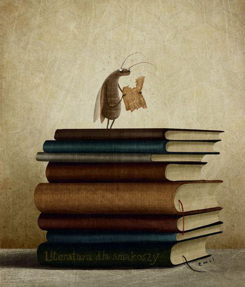 Reader or book worm? / Lector o devorador de libros? (ilustración de Emilia Dziubak)