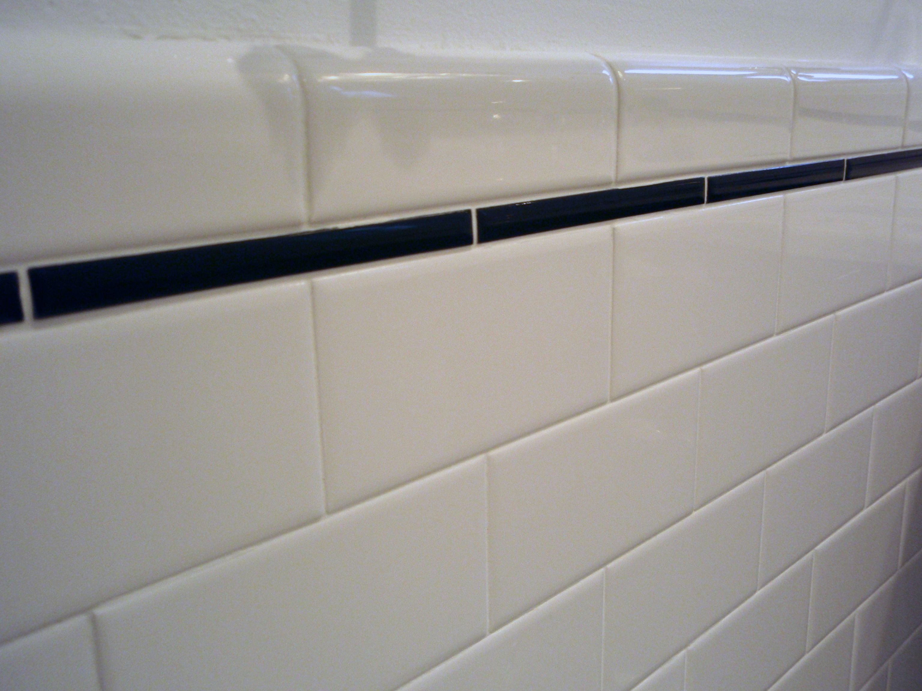 Lovely Subway Tile With Pencil Tile Trim And A Bullnose Edge Finish Tile.