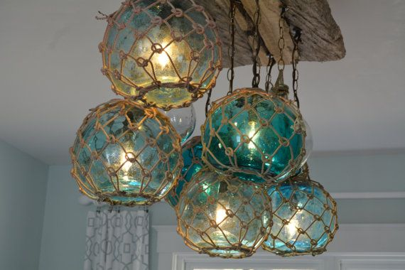 Glass Fishing Float Light Fixture Chandelier With 7