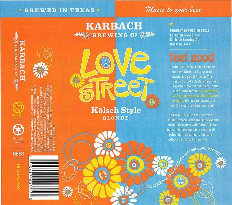Karbach Love Street TABC Label And Brewery Approvals