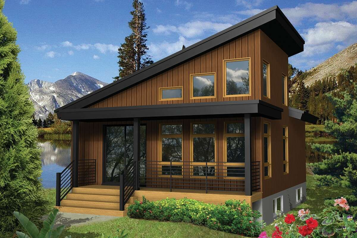 House Plan 6146 00398 Modern Plan 624 Square Feet 1 Bedroom 1 Bathroom In 2021 Vacation House Plans Contemporary House Plans Cabin Design