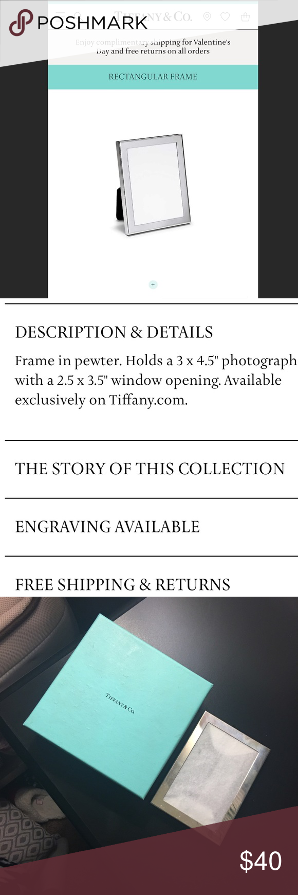 Tiffany & co picture frame Tiffany & co picture frame. Holds a 3 x 4.5 photograph Tiffany & Co. Accessories